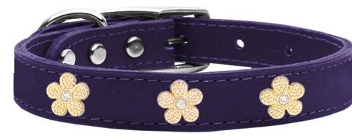 widget flor oro collar perro cuero genuino púrpura 12