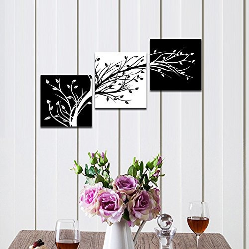 wieco art leaves moderno 3 paneles flores ilustraciones