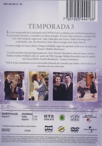 will & grace tercera temporada 3 tres dvd