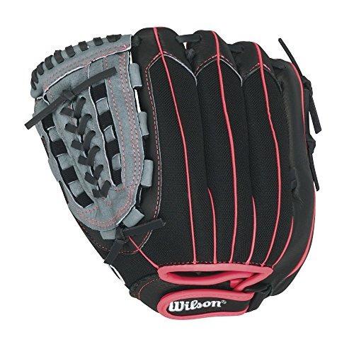 wilson flash guantes de béisbol, negro/rosa, 11.5-inch, man