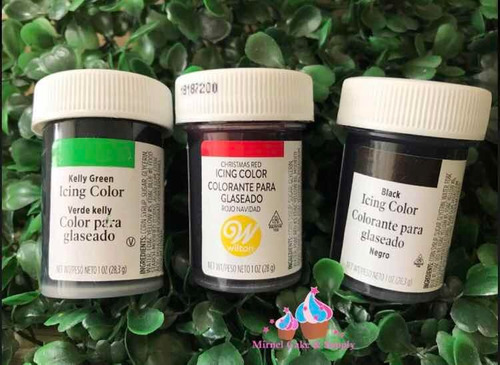 wilton colorantes rojo, verde, negro 1 onza. repostería cake