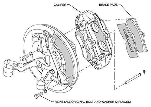 wilwood red brake caliper, pad, and line kit, 4 piston fron