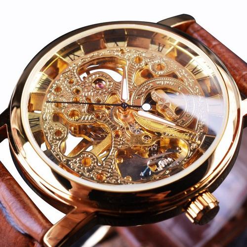 win358-5 negócio estilo homens relógio transparente dourado