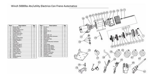 winch 5000lbs atv/utility electrico con freno automatico