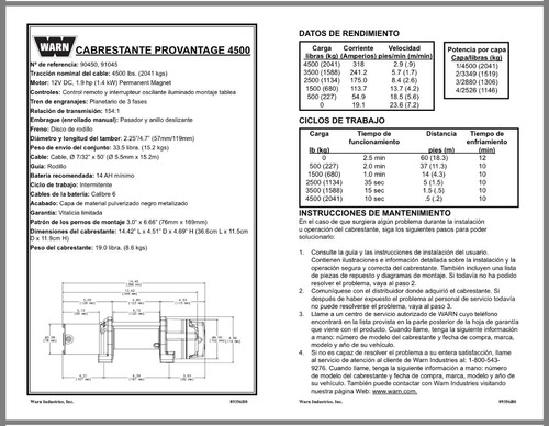 winch warn provantage 4500 metalico para rzr can am polaris