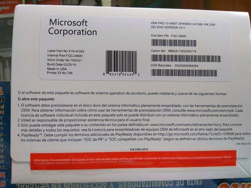 window 10 pro 64 bits oem spanish latam dvd + coa sellado