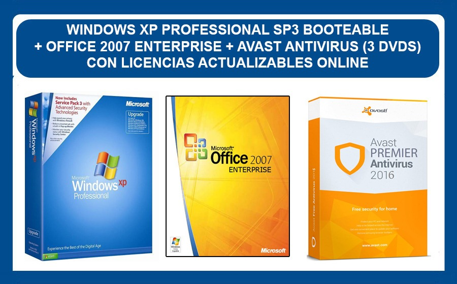 Windows Xp Pro Sp3 + Office 2010 + Antivirus (3 Dvds)
