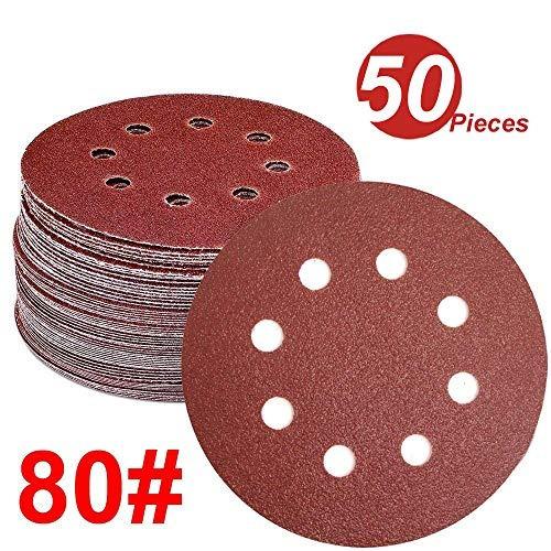 wingoneer 50pcs, discos de lijado, 5-pulgadas, 8 agujeros,