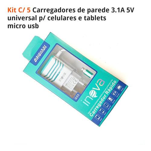 wink tv - carregador g55 tabl cel fast 3a v8 p/ lg kit c/ 5