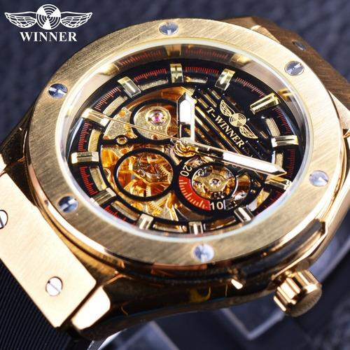 winner luminoso luxo automático mecânico homens ouro & black