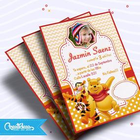 Winnie Pooh Con Foto Tarjetas Invitaciones Personalizadas