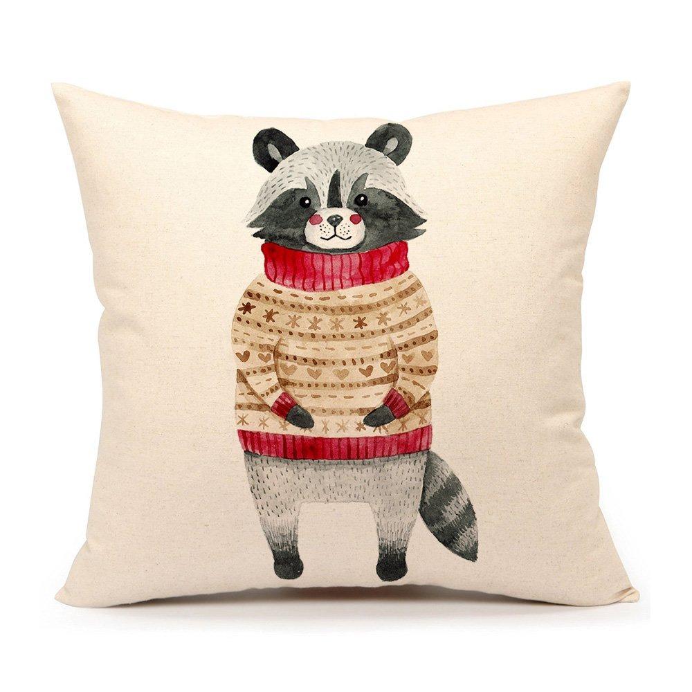 Winter Holidy Animal Raccoon Throw Pillow Funda De Cojín ...