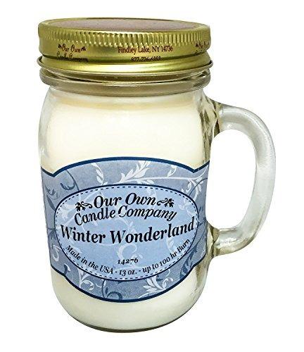 winter wonderland perfumado 13 onza mason jar vela por nues