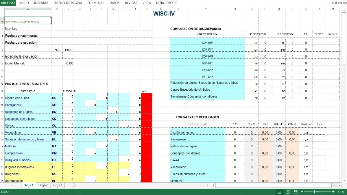 Wisc Iv Test De Inteligencia + Soft + Claves De Eval