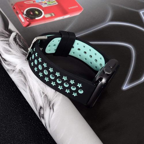 wishta banda reloj silicona suave 42 mm con agujeros ventila