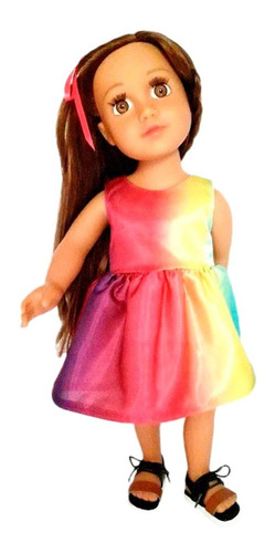 witty girls vestido raso mariposa arcoiris doll 45cm/18 pulg