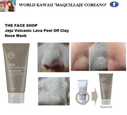 wkm the face shop arcilla volcánica puntos negro 100%coreano