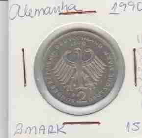 wme-01399 alemanha - moeda $2 mark 1990 25mm