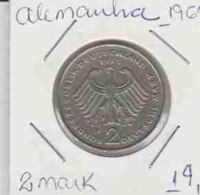wme-01401 alemanha - moeda $2 mark 1969 25mm