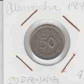 wme-01402 alemanha - moeda $50 pfennig 1984 20mm