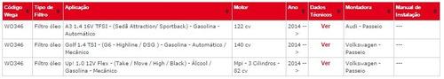 wo 346 filtro de óleo audi a3 1.4 16v tfsi gas. 2014 adiante