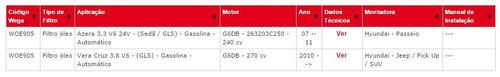 woe 905 filtro óleo kia sorento 3.8 08adiante /opirus 3.5 v6
