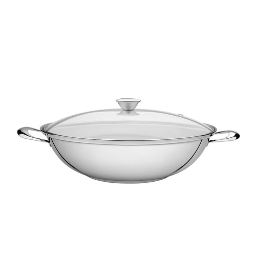 wok de acero inoxidable 34 cm triple fondo  tramontina