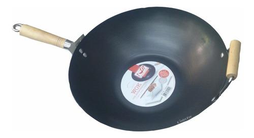 wok profesional chef 35 cm chapa con mango y asa de madera
