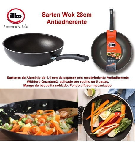 wok sarten teflon antiadherente ilko 28cm
