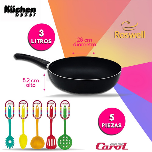 wok teflón 3lt roswell utensilios nylon carol 6 cuotas