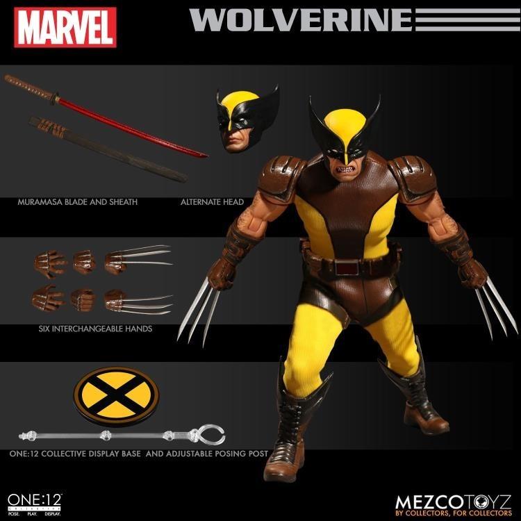 Mezco Toyz One:12 Wolverine Marvel Collective Action Figure X-Men Comic 2 Heads