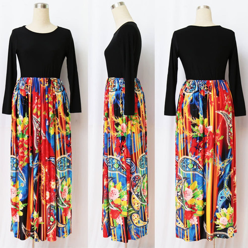 women maxi long dress print long sleeves pockets elastic
