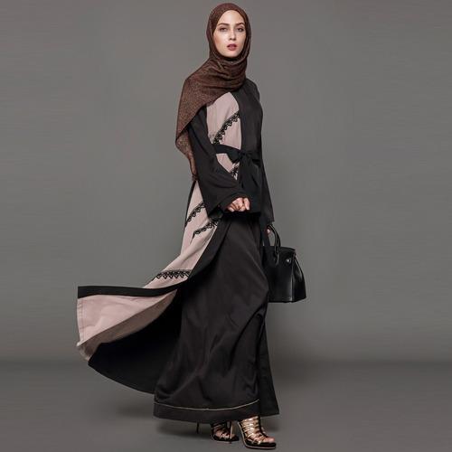women muslim maxi dress lace up long sleeve abaya kaftan