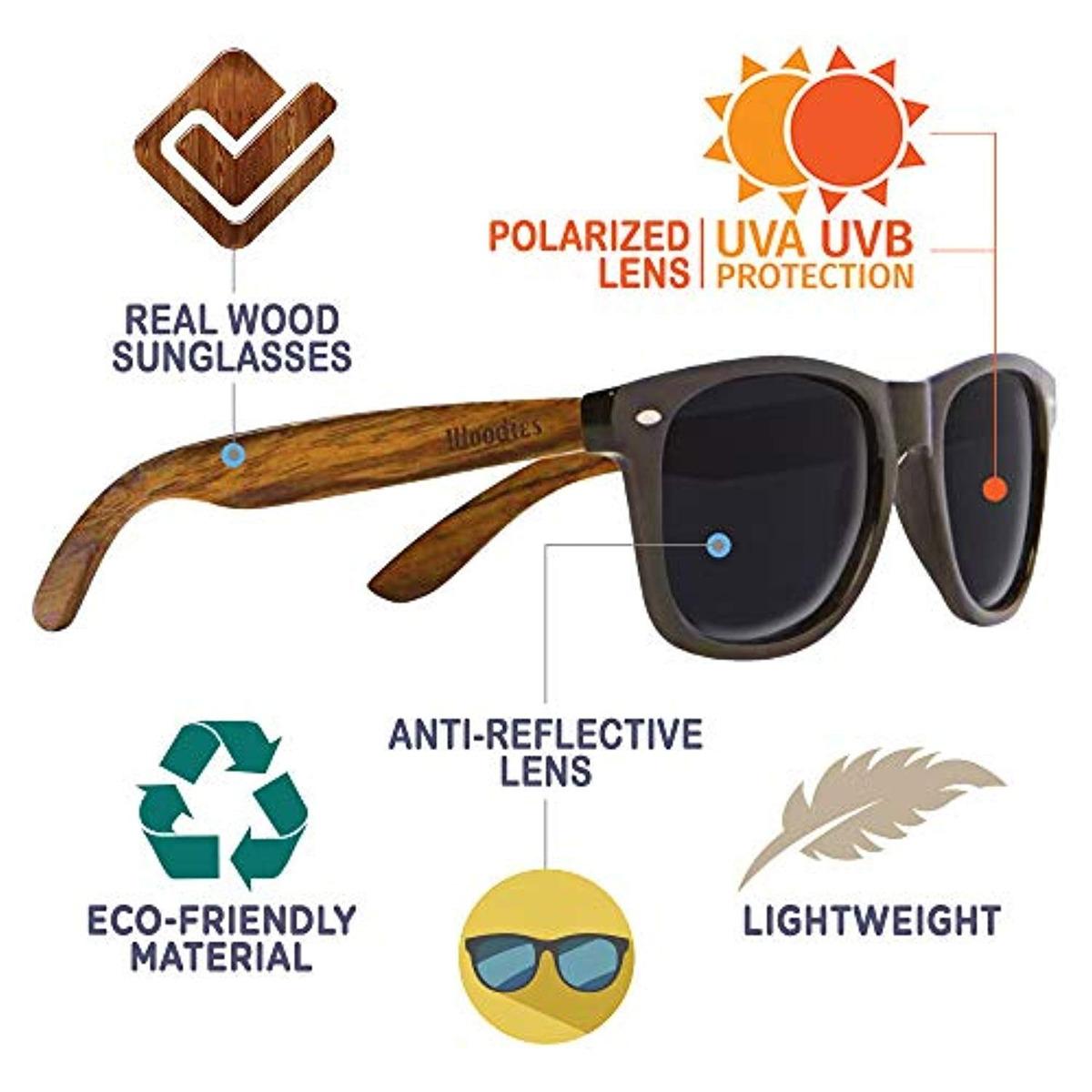 42459fd81b Woodies Gafas De Sol Wayfarer Madera Nogal - $ 194.533 en Mercado Libre