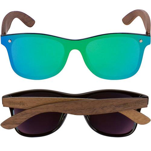 96af30ac4 Woodies Nogal Madera Wayfarer Gafas De Sol Con Espejo Pla - $ 55.903 ...