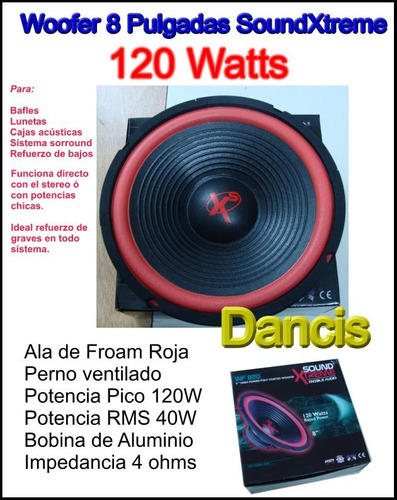 woofer 8 pulgadas 120 watts 4 ohms ala roja by dancis
