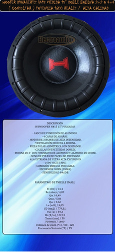 woofer dynahertz h415 15  1600 rms doble bobina alta calidad