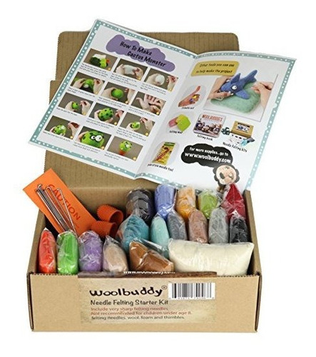 woolbuddy needle felting starter kit de 16 colores de lana,