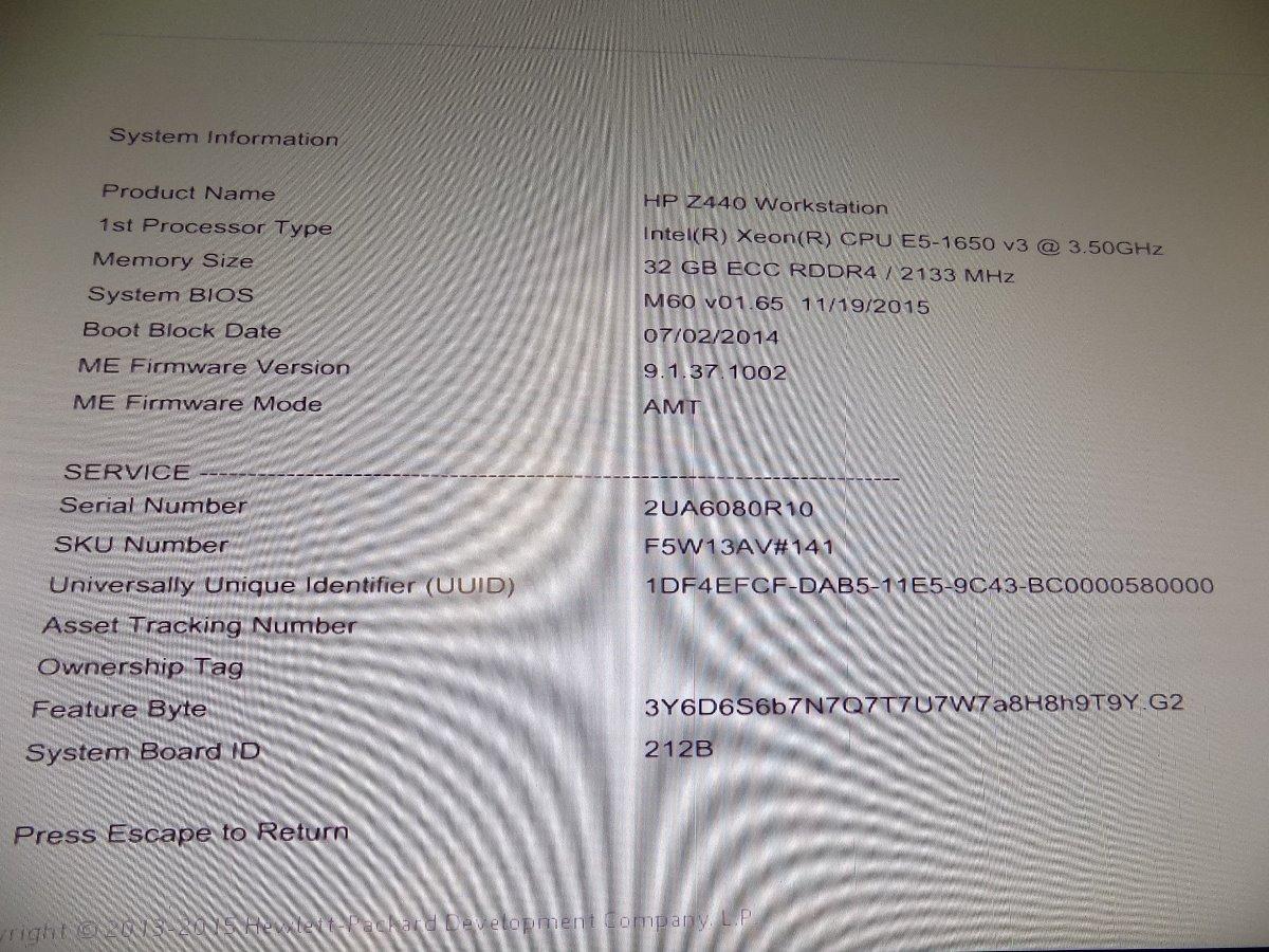 Workstation Hp Z440 3 50ghz Xeon, 32gb 2133mhz, 160gb - $ 4,830 00