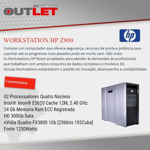 workstation hp z800 x2 xeon e5620 2.4 ghz 24gb 300gb fx 3800