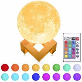 Wow Lámpara Luna 3d 16 Colores Recargable