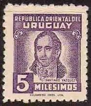 w.r. sello uruguay 1946 - yv 561 - santiago vazquez - mint
