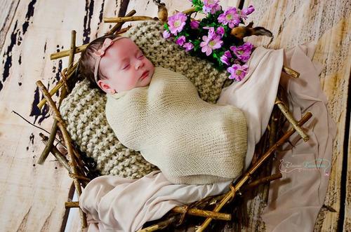 wrap newborn kit completo = wrap + touca + tiara / acessorio