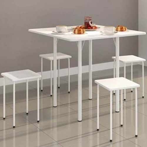 ws mesa dobrável com 4 banquetas  branca