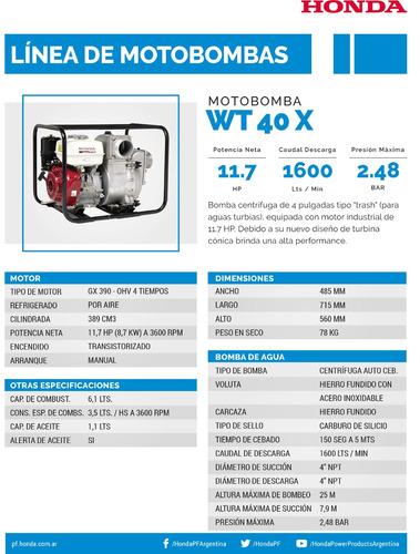 wt 40 x moto bomba para aguas turbias