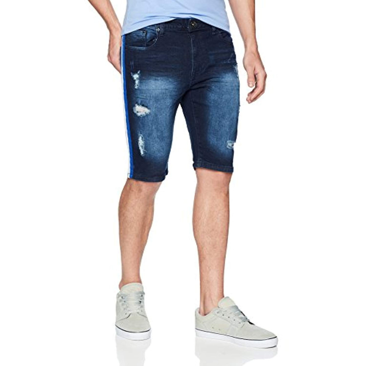 WT02 Mens Stretch Denim Shorts with Destructed Ripped and Repaired