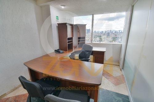 wtc, oficina en renta, piso 21 de 83 m2, amueblada.
