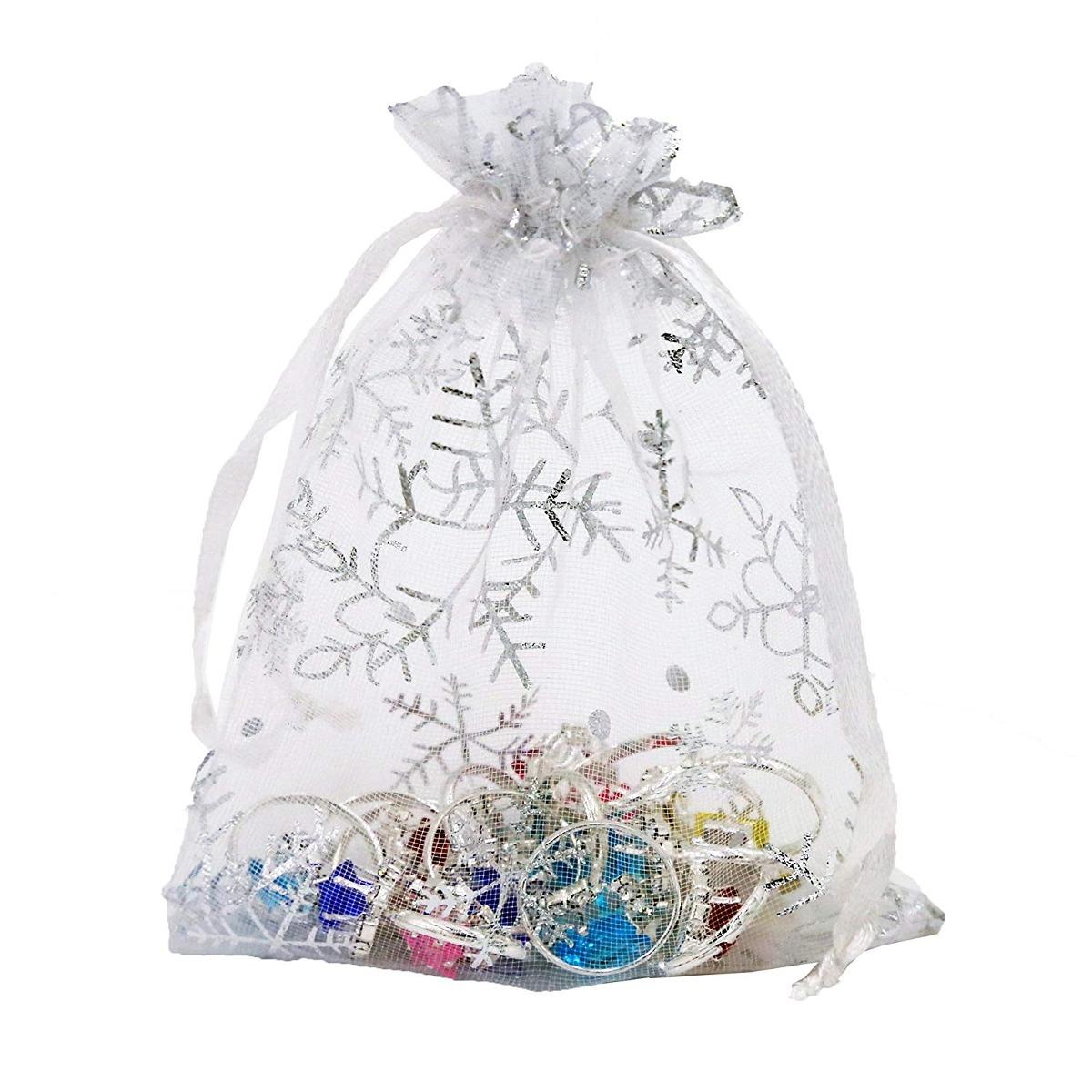Wuli 100 Pcs Snow White Organza Gift Bags With Drawstrin
