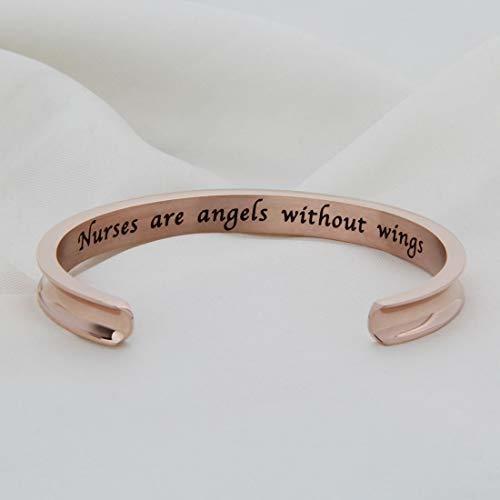 WUSUANED Nurse Bracelet Nurses are Angels Without Wings Cuff Bangle Bracelet Gift for Nurse Medical Student