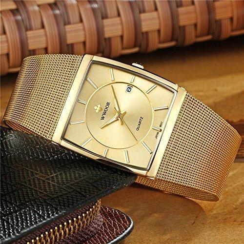 wwoor banda de malla de acero inoxidable reloj de cuarzo